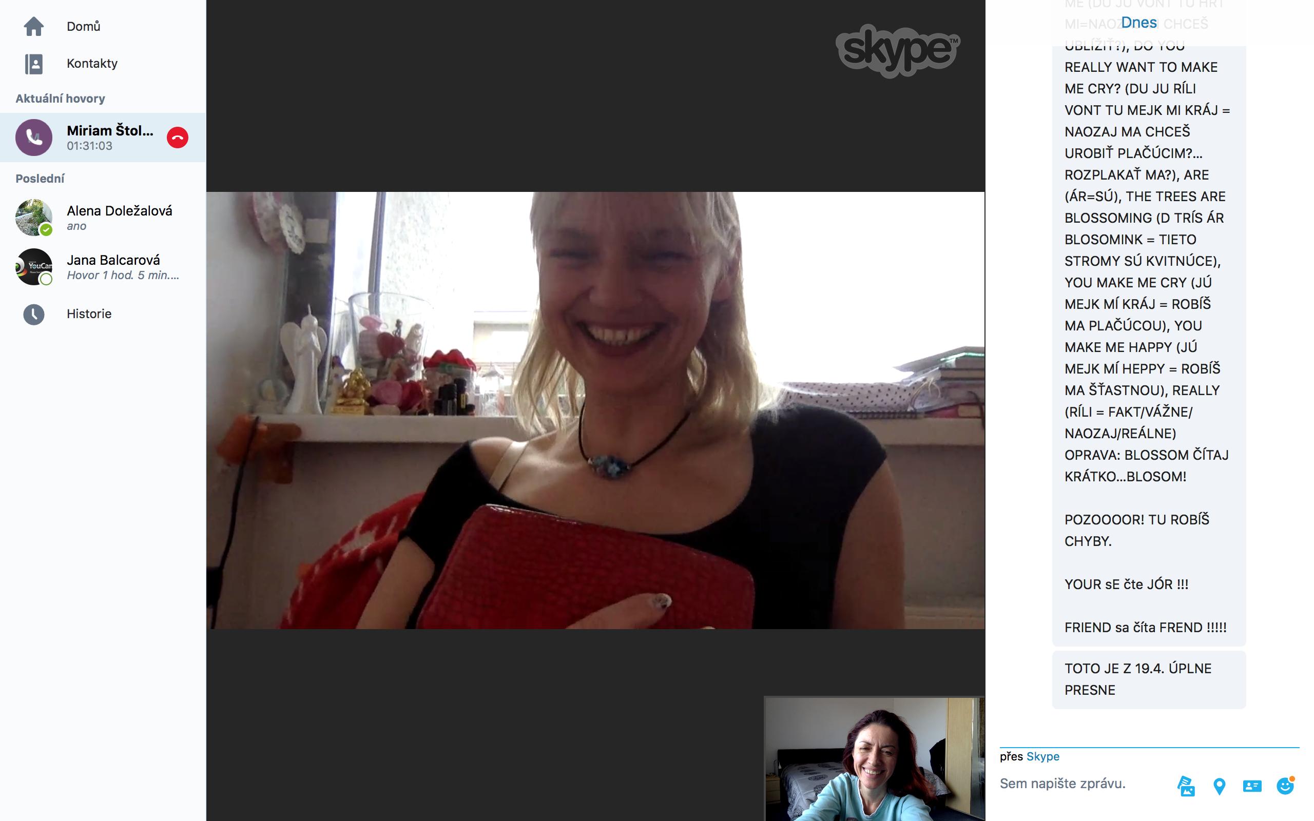 Skype lekce s Miriam